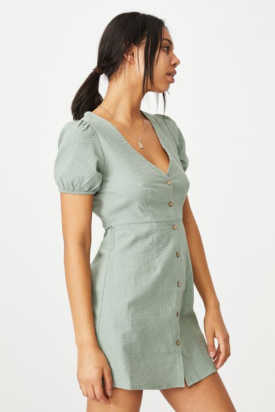 Woven Briony Button Front Mini Dress, CHINOIS GREEN