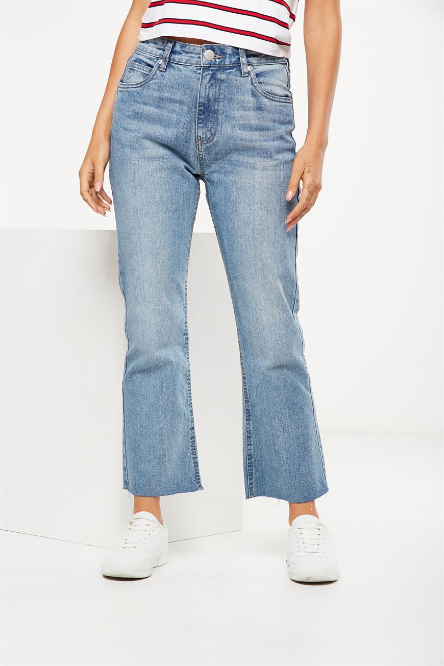 High Rise Kick Flare Crop Stretch Jean, LIGHT JANE BLUE
