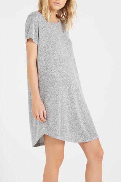 Tina Tshirt Dress 2, CHARCOAL MARLE/WHITE FLECK