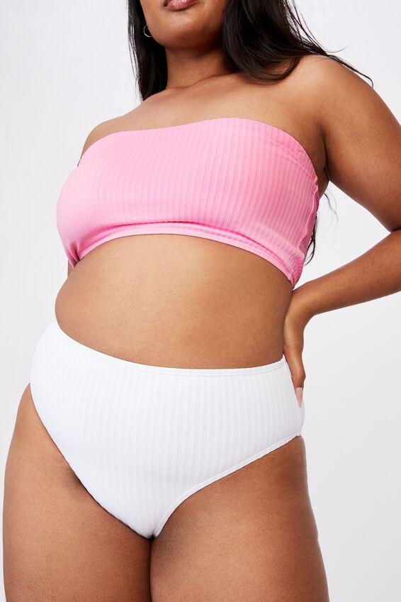 Curve High Waisted Full Bikini Bottom, WHITE RIB