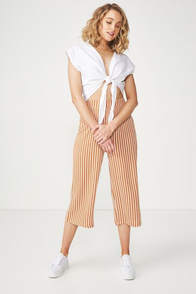 Marlee Luxe Culotte, LADDER STRIPE HONEY BROWN/GARDENIA