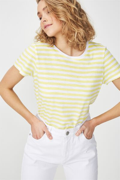 The Crew T Shirt, SADIE STRIPE WHITE/LIMELIGHT