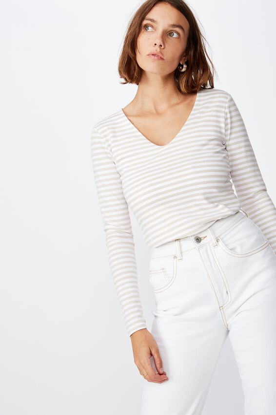 Everyday Long Sleeve V Neck Top, MARSHALL STRIPE TAPIOCA/WHITE