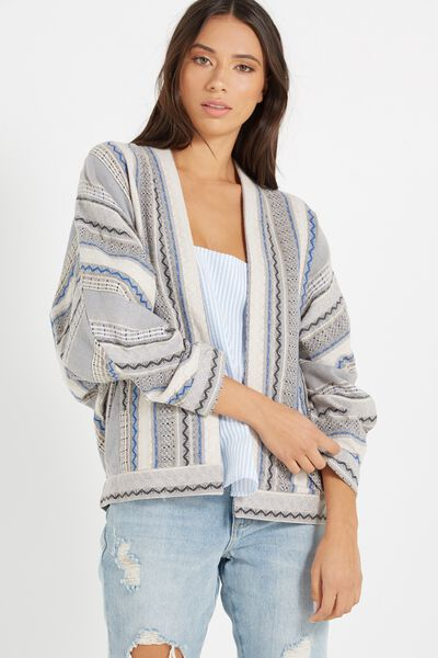 Leah Dolman Sleeve Jacket, MULTI COLOUR JACQUARD