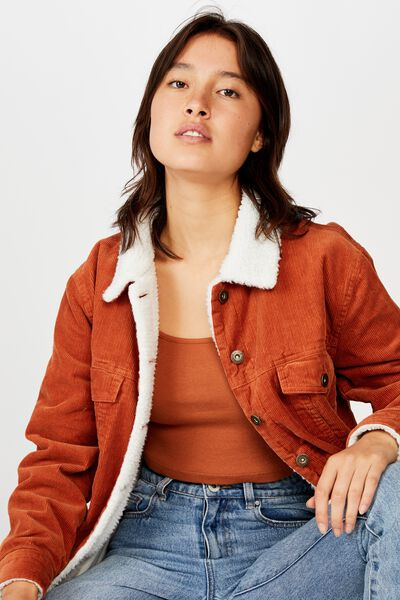 Sherpa Cord Trucker Jacket, TOASTED NUT