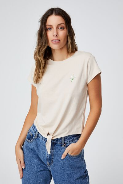 Tie Front Graphic Tee, DAISIES/BARLEY