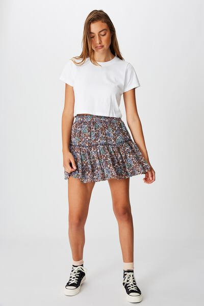 Finley Mini Skirt, EMILY FLORAL PAISLEY WHITE