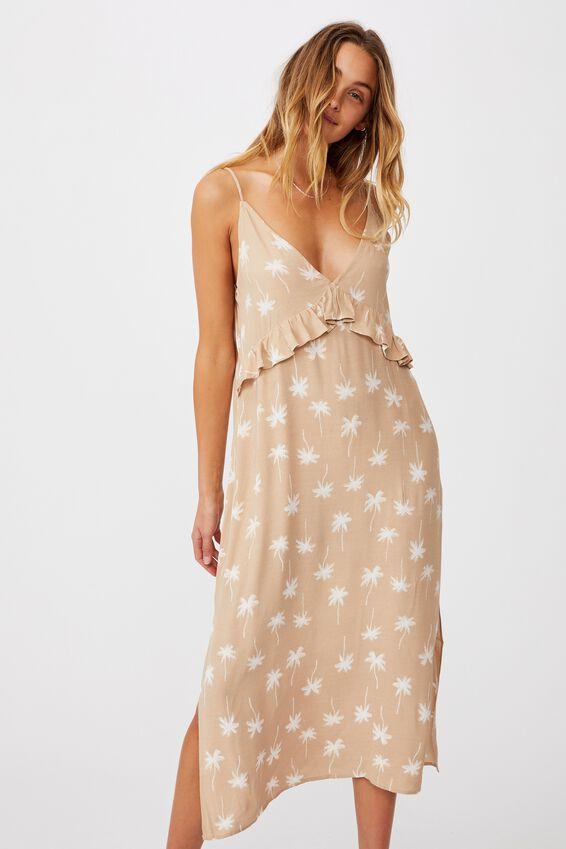 Woven Max Strappy Midi Dress, LISS PALM WARM BROWN