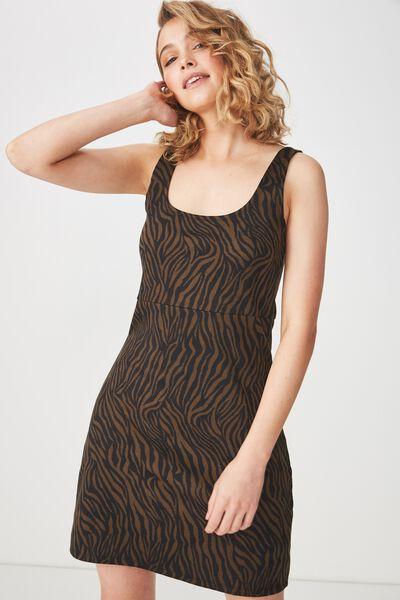 Mac Thick Strap Pinafore Mini Dress, SARAH ZEBRA BLACK