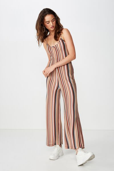 d505975b34e0b7 2 colours available. Mesh Festival Jumpsuit, ASH STRIPE ARABIAN SPICE