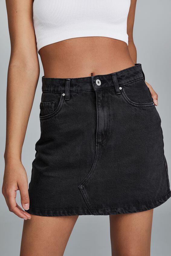 The Classic Denim Skirt, SUPER WASHED BLACK