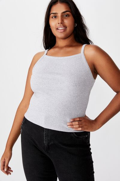 Curve High Crew Low Back Tank, SILVER MARLE
