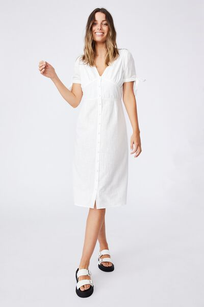 Woven Chantelle Button Through V Neck Midi Dress, LUNAR WHITE