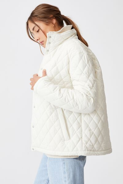 Recycled Quilted Jacket, ECRU