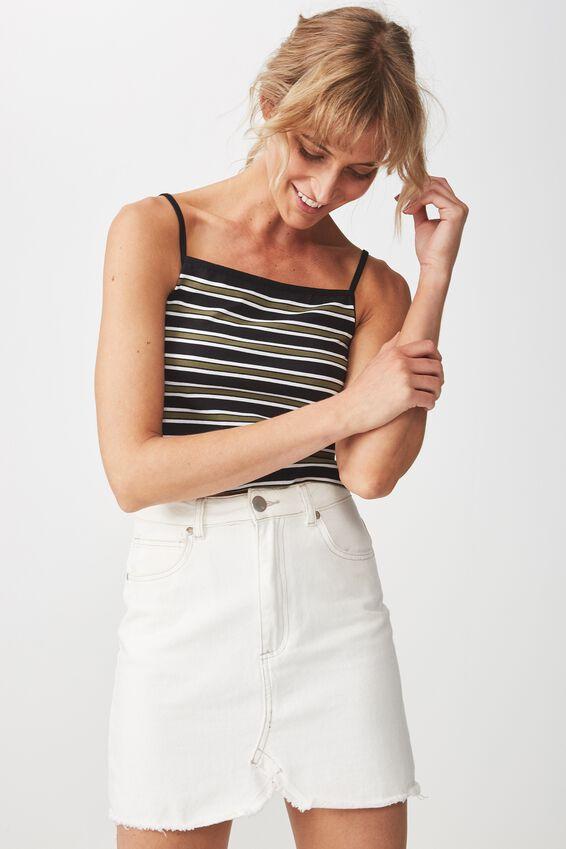 Fashion Crop Cami, PIP STRIPE BLACK/WHITE/SOFT KHAKI