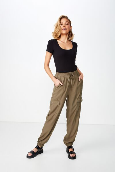 Cerrie Drapey Utility Pant, OLIVE NIGHT