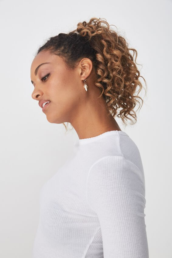 The Sister Long Sleeve Top, WHITE