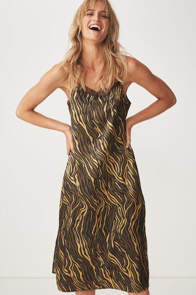 Woven Audrey Lace Midi Slip Dress, SARAH ZEBRA OLIVE AND BLACK