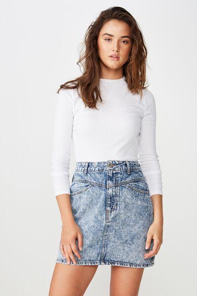 The Re-Made Mini Denim Skirt, ACID WASH