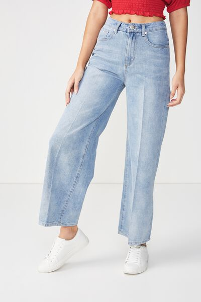 High Rise Wide Leg Jean, BLEACH BLUE PRESS
