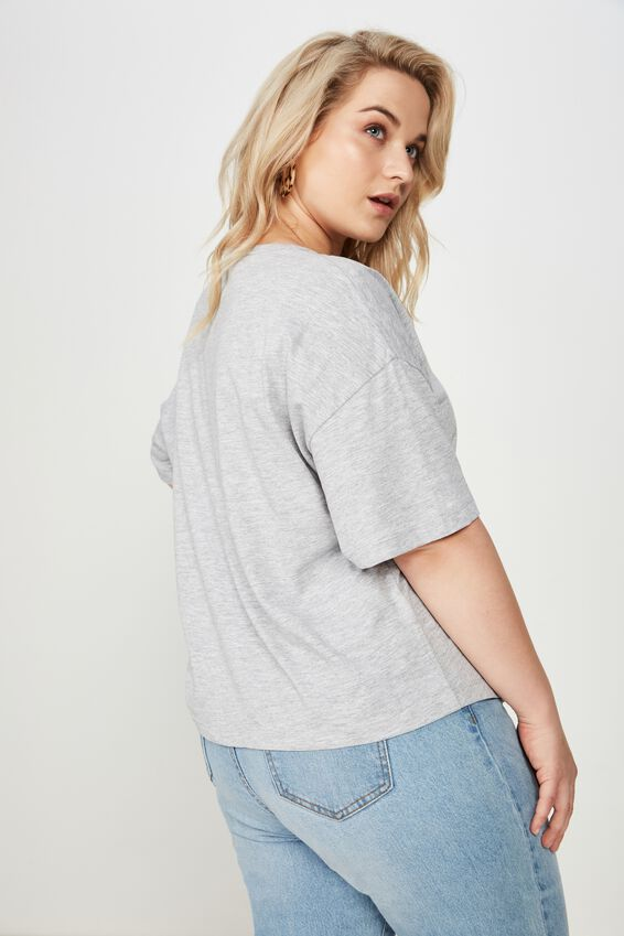 Curve Relaxed V Neck Tee, GREY