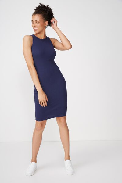 Lena Midi Dress, NAVY RIB