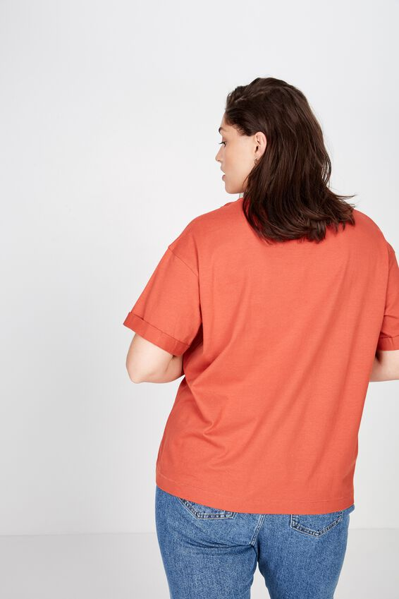 Curve Relaxed Boyfriend Tee, RUSTIC RED