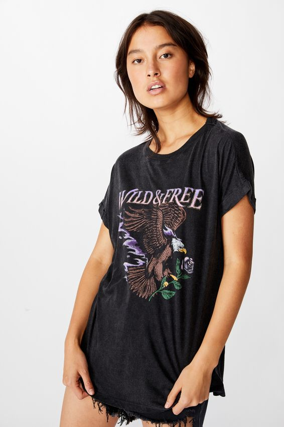 90S Loose Fit Graphic Tee, WILD AND FREE/BLACK