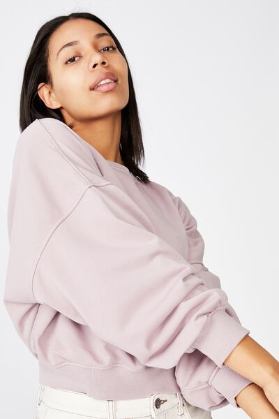 Cleo Balloon Sleeve Crew, LILAC GARMENT PIGMENT DYE