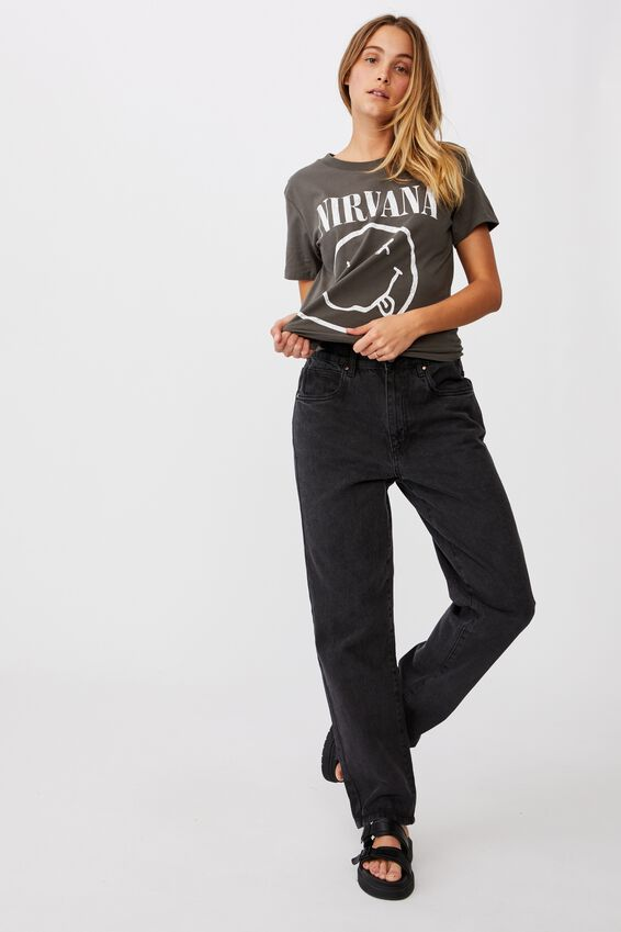 Classic Nirvana Smiley T Shirt, LCN LN NIRVANA SMILEY/GUNMETAL