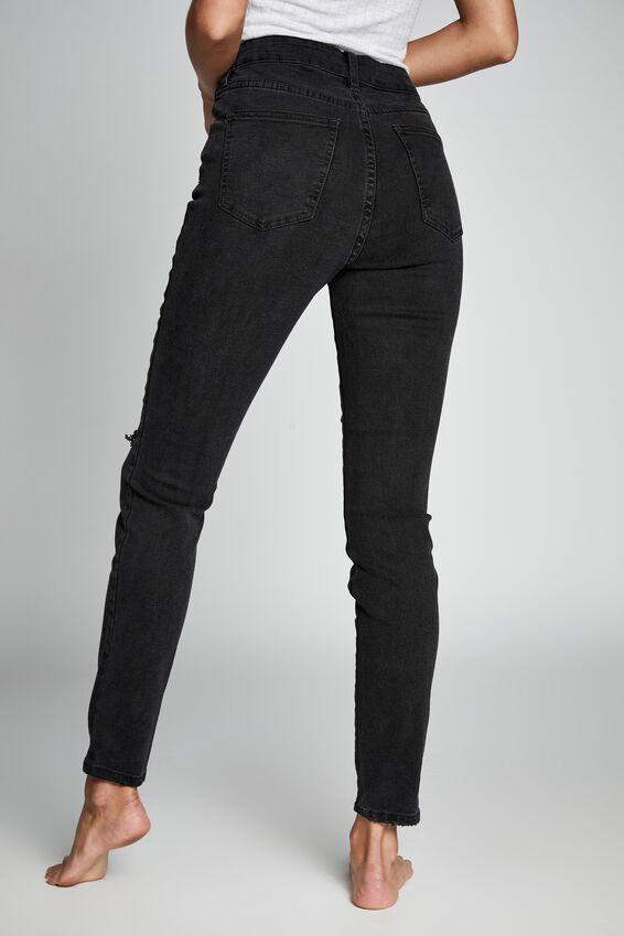 High Rise Skinny Jean, WASHED BLACK RIP KNEE