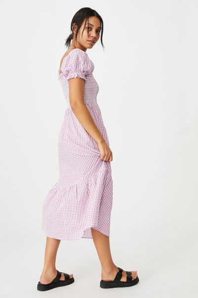 Woven Louise Shirred Maxi Dress, BETHANY GINGHAM MAGENTA