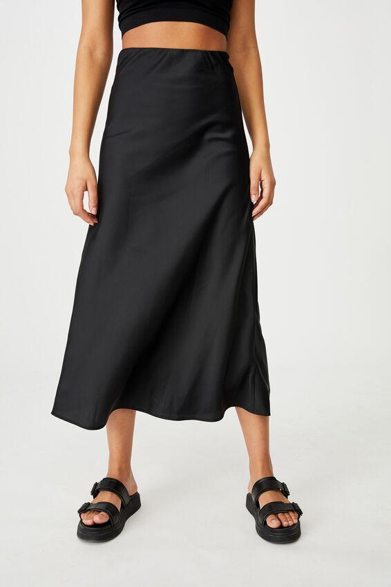 All Day Slip Skirt, BLACK