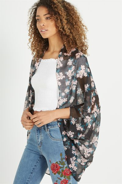 Trixy Cocoon Kimono, CHERRY BLOSSOM BLACK