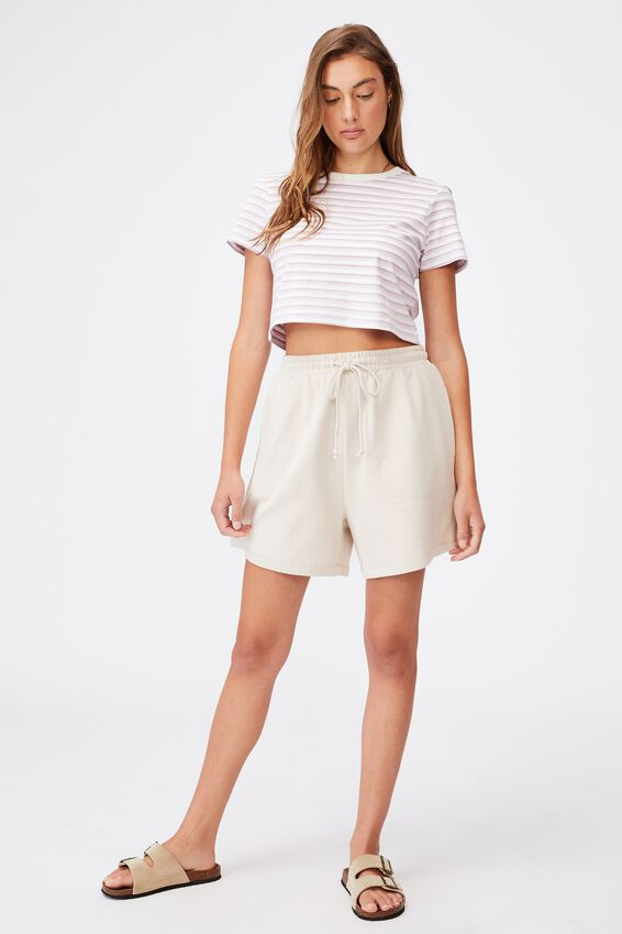 The Baby Tee, GINNY STRIPE SOFT MAUVE/BARLEY