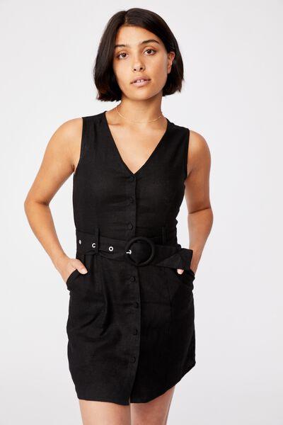 Woven Valerie Vest Mini Dress, BLACK