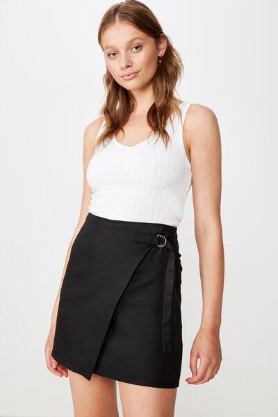 Woven Ivy Check Mini Skirt, BLACK