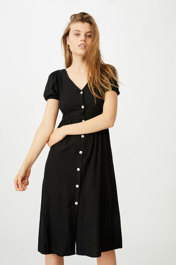Woven Hanna Bell Sleeve Midi Dress, BLACK