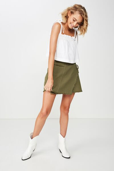 Wrap Denim Mini Skirt, BURNT OLIVE
