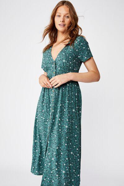Woven Clover Short Sleeve Midi Dress, EVIE DITSY MALLARD GREEN