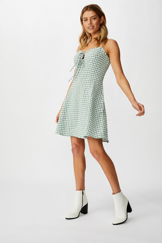 Woven Agnes Tie Front Mini Dress, GINGHAM GREEN BAY CHECK