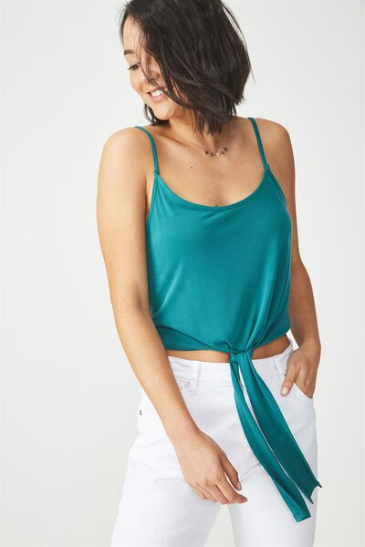 Nat Tie Strappy Cami, TEAL GREEN