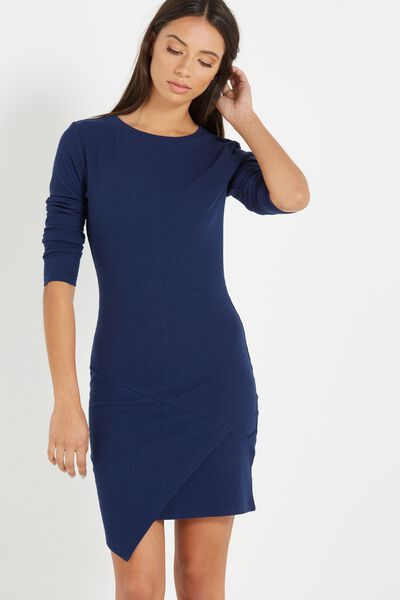 Riley Long Sleeve Assymetric Bodycon Dress, DEEPEST SPACE NAVY