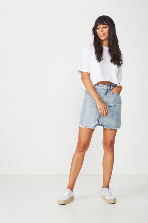 The Re-Made Mini Denim Skirt, NEW VINTAGE BLUE