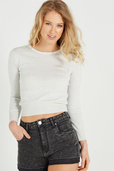 Demi Chopped Fine Gauge Pullover, SILVER LUREX