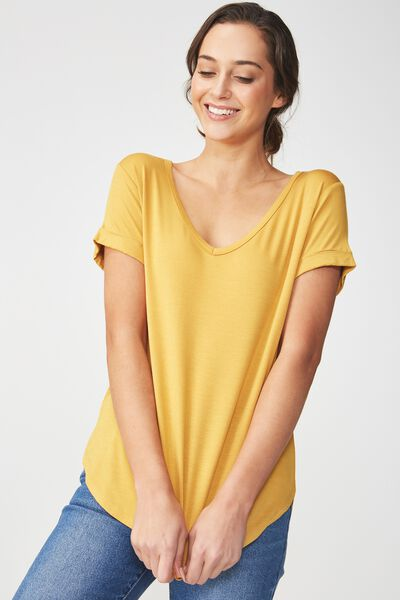 Karly Short Sleeve V Neck Top, GOLDEN NUGGET