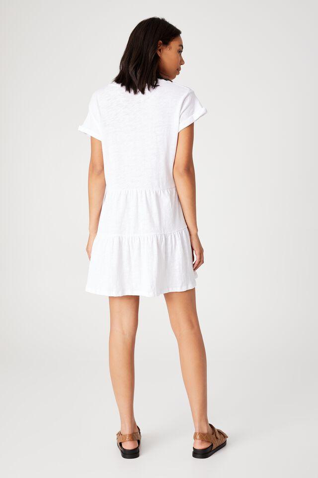 Ritchie Tiered Tunic Mini Dress, WHITE