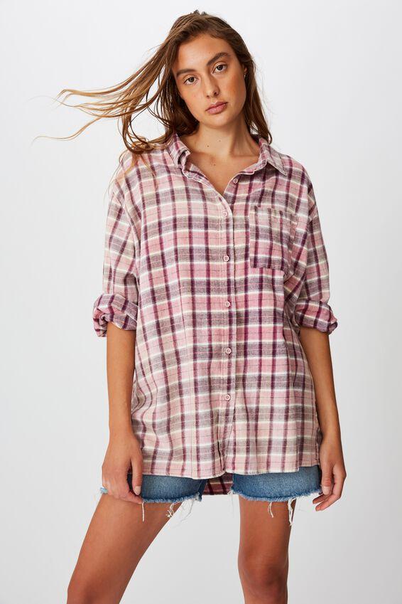 Relaxed Flannel Shirt, ALEXA CHECK BLACKBERRY WINE