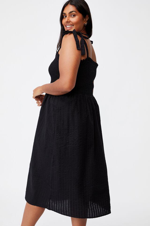 Curve Shirred Samantha Midi Dress, BLACK