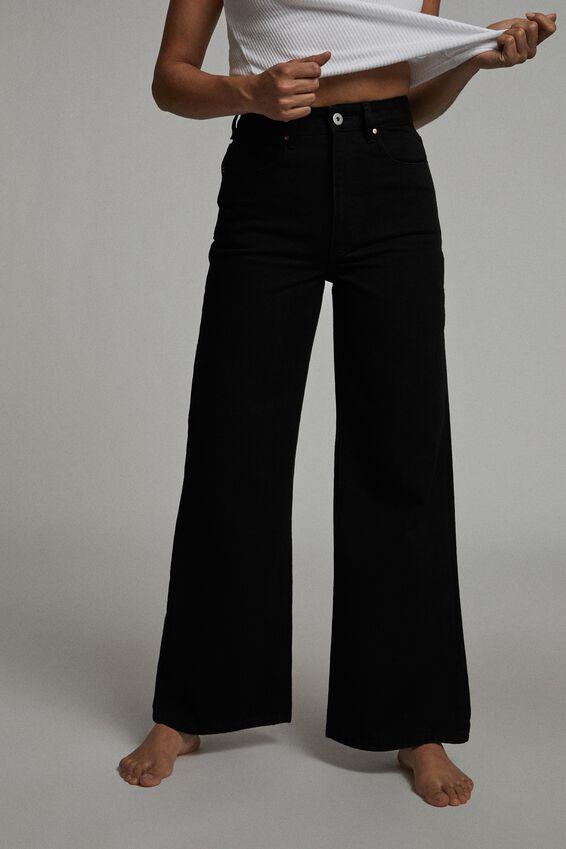 Petite Wide Leg Jean, BLACK